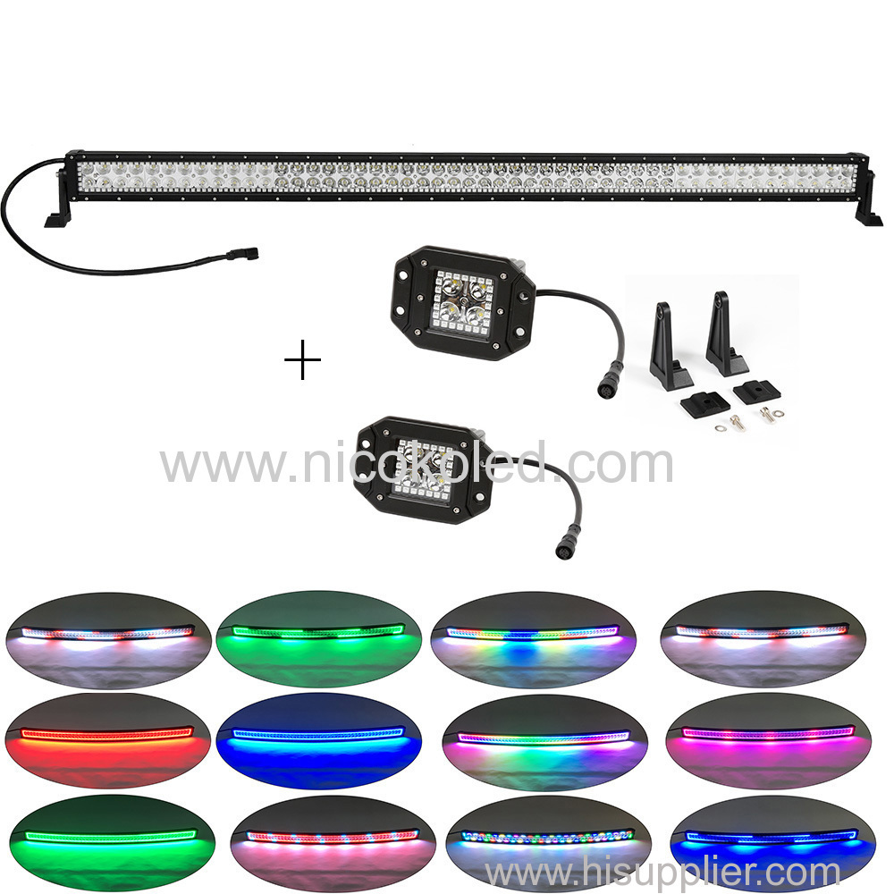 "Straight 52"" High Power led light bar chasing halo 300w +2xflushmount pods chasing halo"