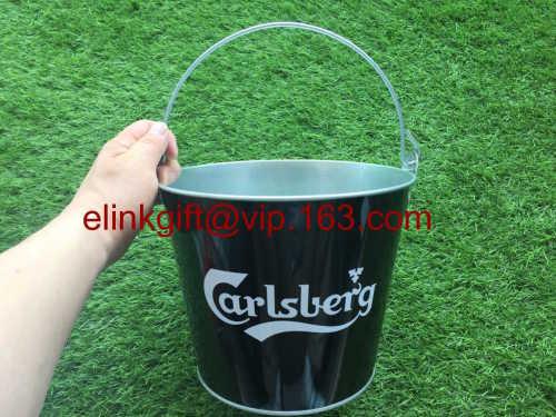 SEDEX factory metal ice bucket galvanized tin bucket with bottle opener