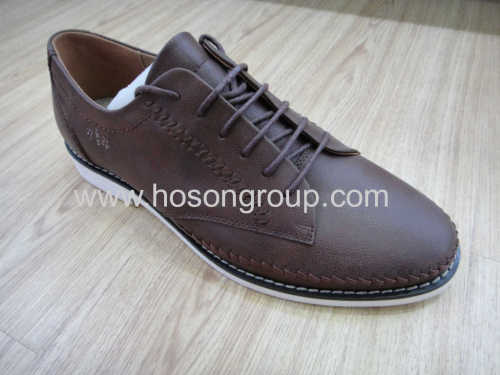 Brown knitting mens lace flat shoes