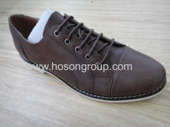 Brown leather mens office lace shoes