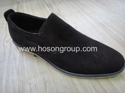 Suede mens casual flat shoes black