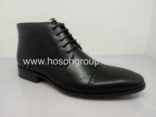 PU leather lace mens office shoes black
