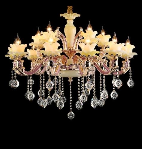 Mordern design Fushcia Larger Crystal indoor ceramics lighting