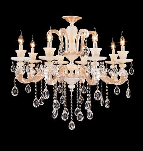 Mordern design Nacarat Larger Crystal indoor ceramics lighting