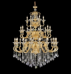 Modern Design Larger Golden Crystal Chandelier Lighting