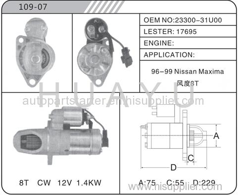 Auto Nissan Maxima Starter Motor 17695