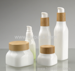 Smooth white opal glass square bottle and jar with bamboo cap