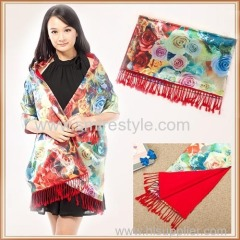 Winter Double Pattern and Double Face Elegance Large Size silk and wool Shawl