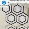 Hexagon white mosaic mixed black marble tile for kitchen backsplash