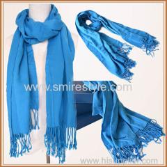 Custom Design Blue Wash Acrylic Scarf with Fringe