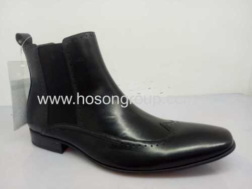 Mens elastic band ankle boots black