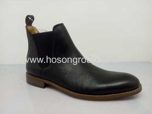 Elastic band flat mens ankle boots black