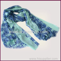 Blue Degradation Color 100% Modal Floral Printed Scarf