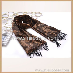 100% Polyester Jacquard Infinity Scarf with Fringe