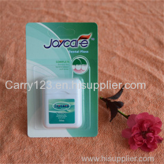 Square shape dental floss dispenser 50m Cool mint flavor waxed Can customized logo blister card packing