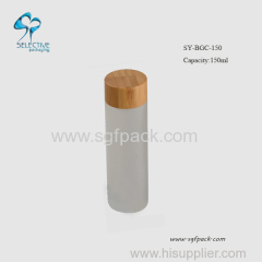 150ml mat glass lotion bottle with bamboo disc screw cap