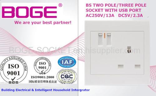 BS STANDARD 1 GANG 13A USB PC SWITCH SOCKET