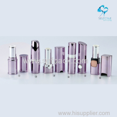 Empty violet color aluminum lipstick case