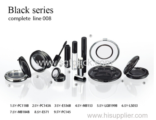 Black cosmetic plastic tube and compact makeup series