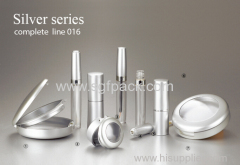 Matte silver series complete makeup kit empty mascara tube aluminum compact