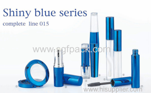 shiny blue aluminum makeup tool empty complete kit