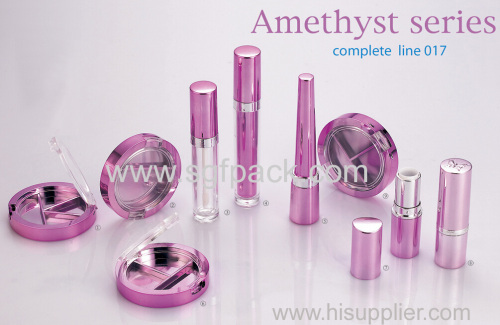 amaranth shiny aluminum compact makeup container empty mascara tube