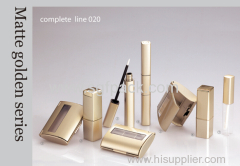 Matte golden plastic square tube complete makeup kit empty plastic tubes