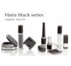 Matte black square compact mirror lipstick tube square eyeliner tube