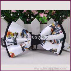 Funny Beautiful Export Custom Digital Printed Bow Tie Silk For Girl