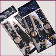 2017 Fashion Suspenders Bow Ties set with Dot Pattern Azo Free