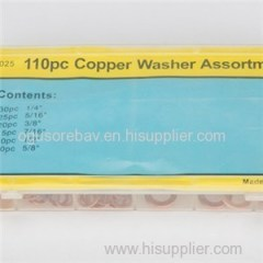 6Size 110PCS Copper Washer Kit Copper Washer Assortment High Qulality Copper Ring For Seal