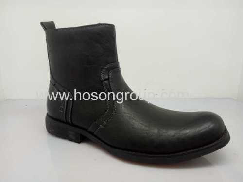 Black clip on mens round toe ankle boots