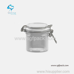 Food seal pot transparent PET airtight canister round shape