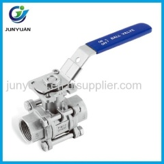 STAINLESS STEEL 3 PCS BALL VALVE WITH ISO5211 MOUNTING PAD