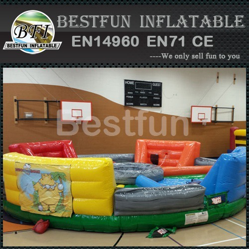 Interactive inflatable bungee run racing game