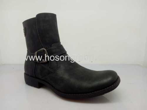 PU leather mens ankle high boots
