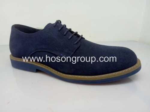 Blue suede mens tie up shoes