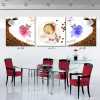 Modern Wall Art Home Decoration Printed Oil Painting 3 Panel Coffee Cup and Rose Still Life Kitchen Restaurant Decor