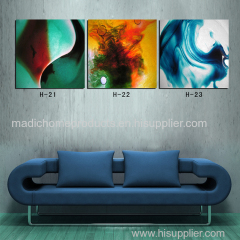 Abstract oil painting for living room 3 piece printed painting picture dancing color framed wall art