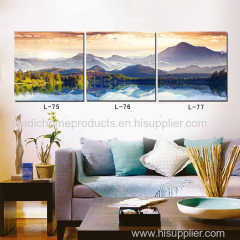 Landscape painting art 3 panel printed wall oil painting mountain and lake natural scenery canvas picture for room