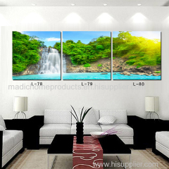 Contemporary landscape painting 3 Panel waterfall and pool beautiful realistic scenery printed oil painting on canvas