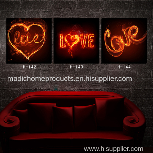 Abstract oil painting on canvas 3 piece living room wall art fire love heart canvas printed wall painting pictures