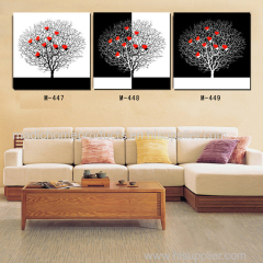 3 panel abstract oil painting black white and red tree living room wall decoration canvas printings