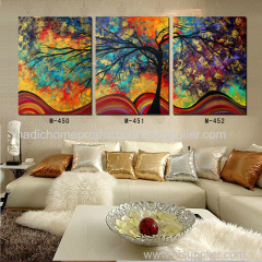 Modern decorative landscape painting 3 piece colorful tree abstract oil painting for sale