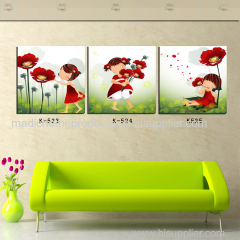 HD printed oil painting 3 panel kids room wall art cartoon girl and flower painting picture