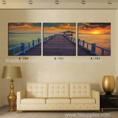 Oil painting of landscape 3 panel beautiful trestle in sunset canvas printing pictures