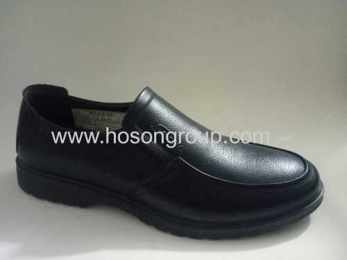 Pure black mens clip on casual shoes