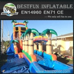 inflatable waterslide blue tropical long extreme