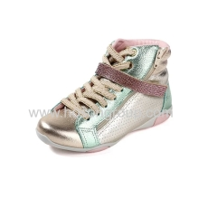 Shiny PU leather children casual shoes