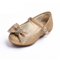 Gold shiny bowtie buckle kids shoes